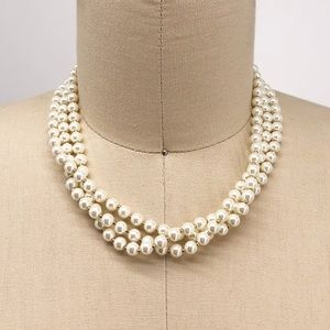 CHARTER CLUB 3 Strand Gold & White Pearl Necklace